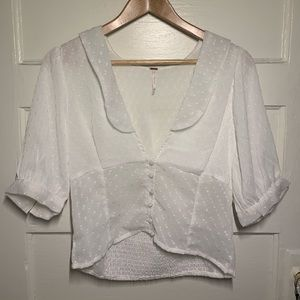 Free People Sheer White Button Up Top